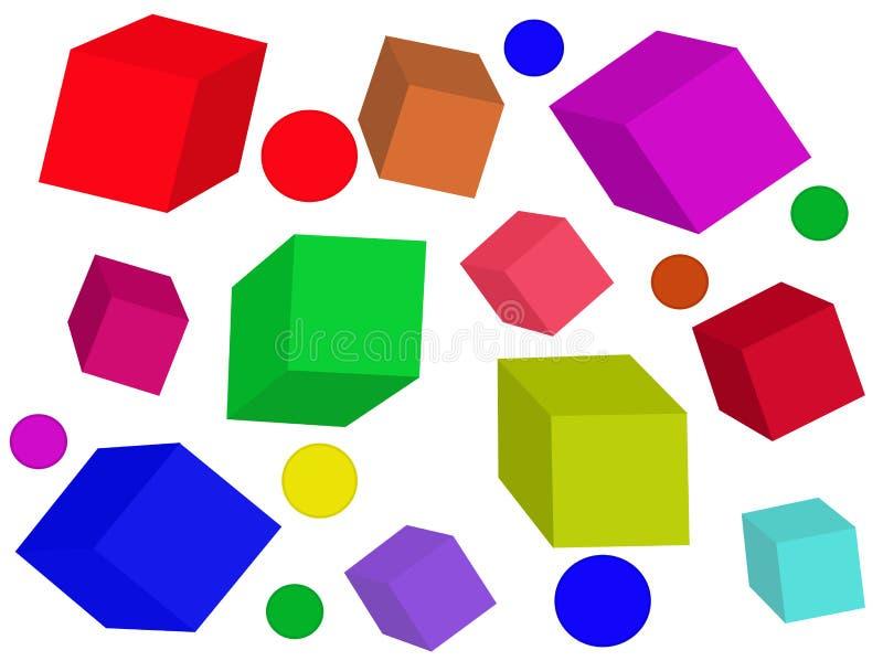 Покрашенные кубики вектор иллюстрация вектора
