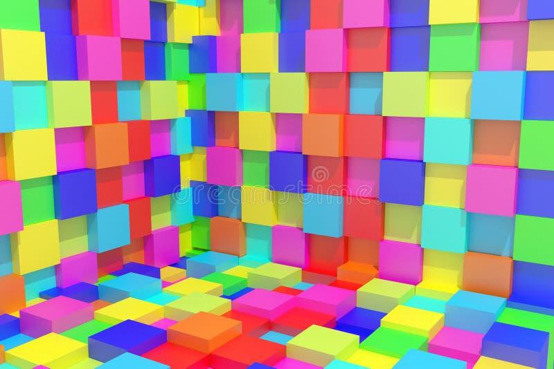 Покрашенные кубики иллюстрация штока