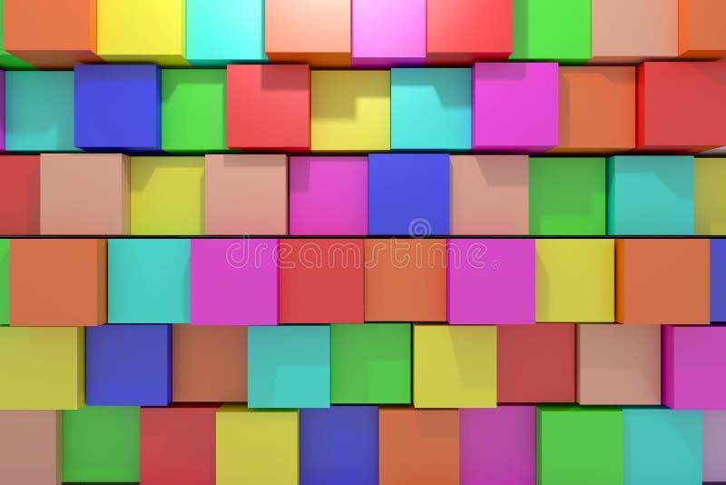 Покрашенные кубики иллюстрация вектора