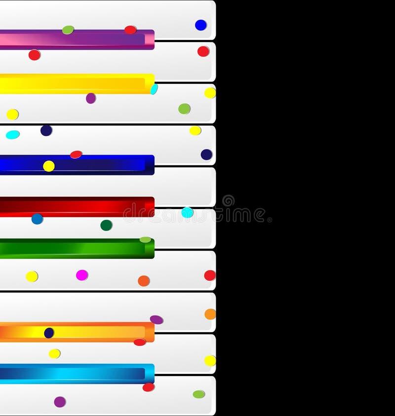 Покрашенные ключи и confetti музыки иллюстрация вектора