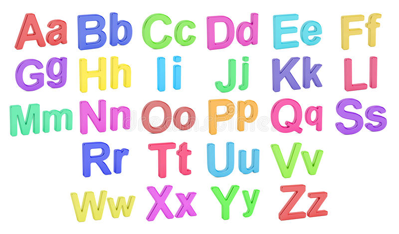 Покрашенные маленькие буквы алфавита, больших и, перевод 3D иллюстрация штока