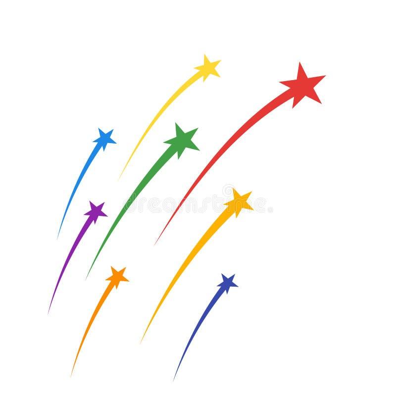 Покрашенные парящие фейерверки, шлейфы звезд элегантные курчавые Праздничные торжества салюта Элементы вектора изолированные на с иллюстрация штока
