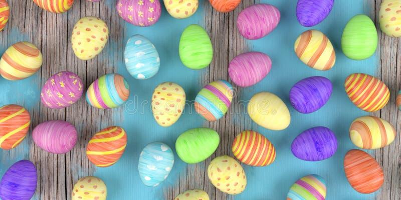 Покрашенные пасхальные яйца иллюстрация вектора