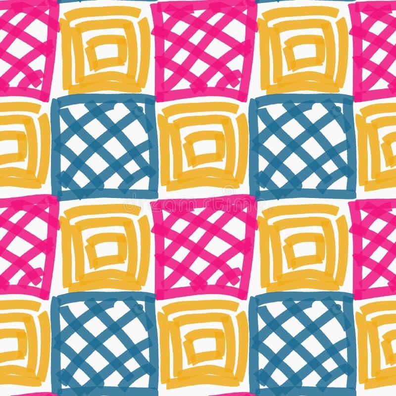 Покрашенные розовые голубые и желтые квадраты иллюстрация вектора