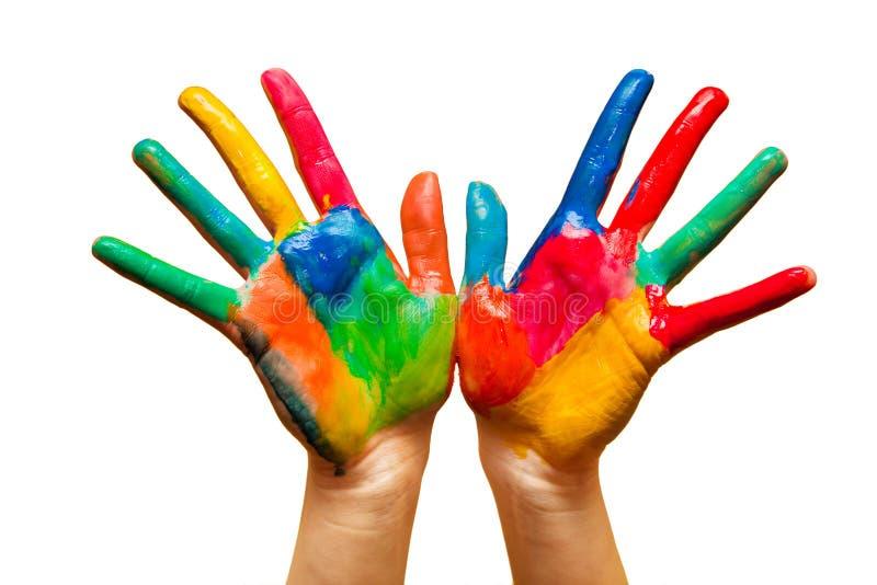 Покрашенные руки, цветастая потеха. Изолировано стоковые фотографии rf