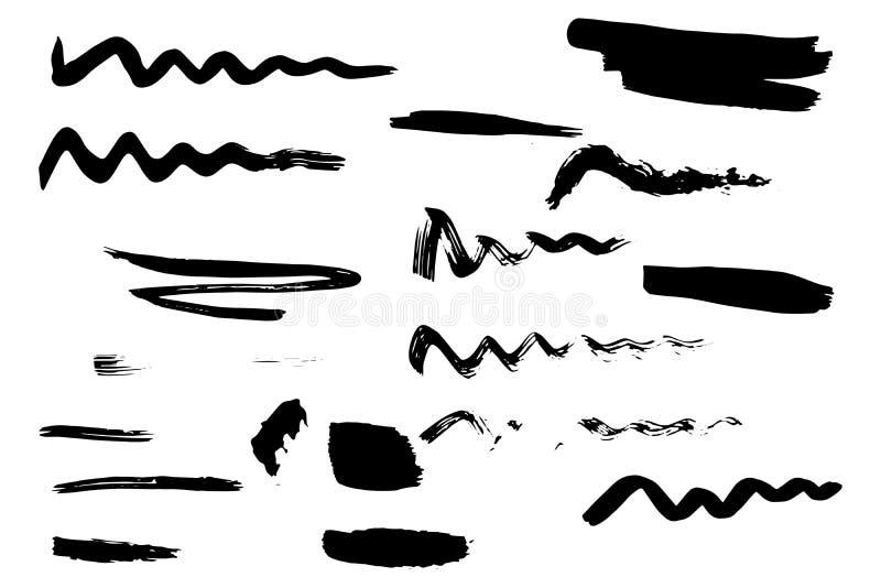 Покрашенные рукой ходы щетки иллюстрация вектора