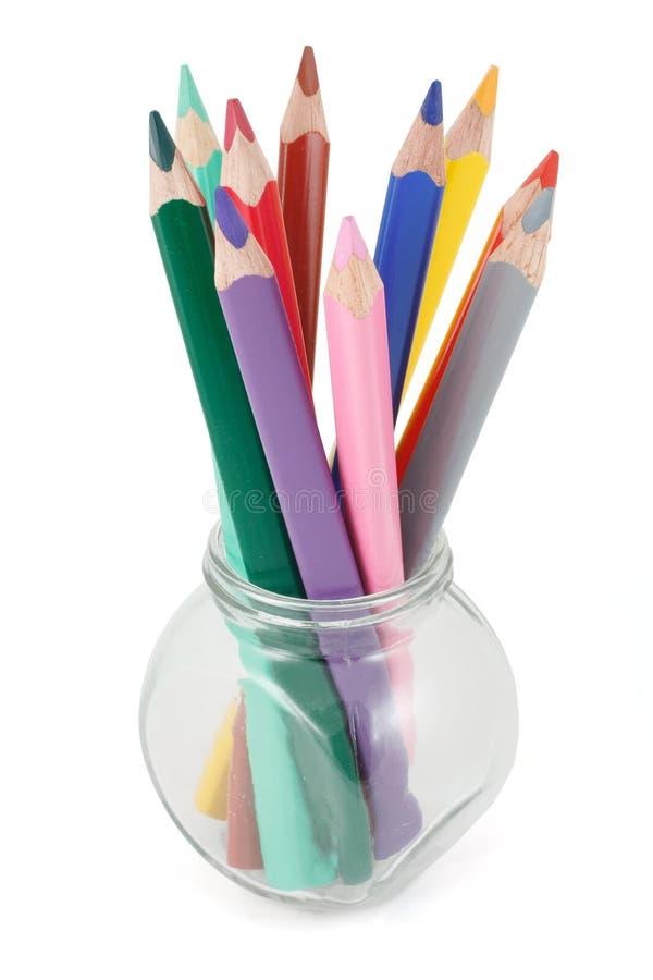 покрашенные стеклянные карандаши опарника стоковые фотографии rf