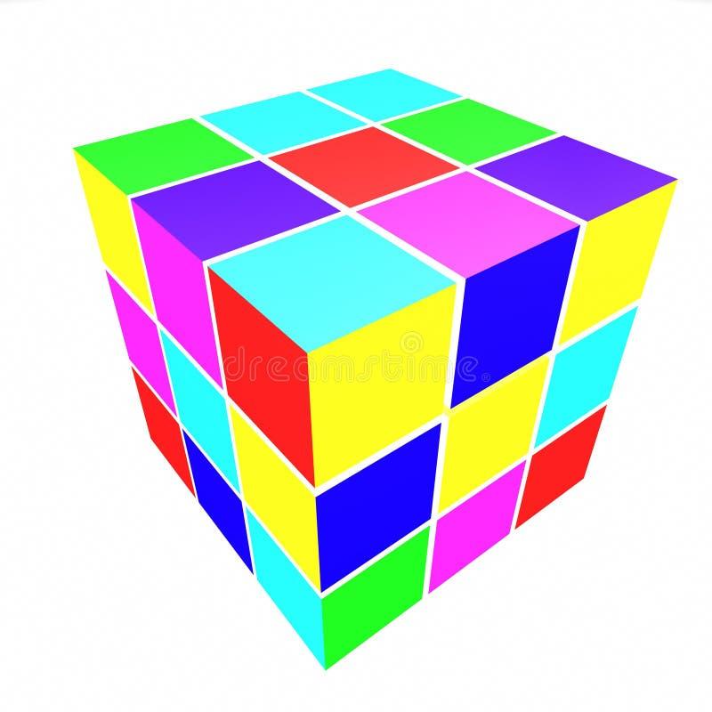 покрашенные стороны кубиков иллюстрация вектора