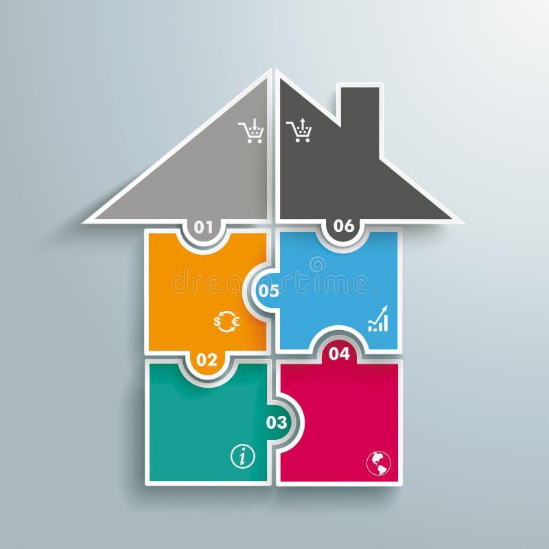 Покрашенные сферы Infographic головоломки дома иллюстрация штока