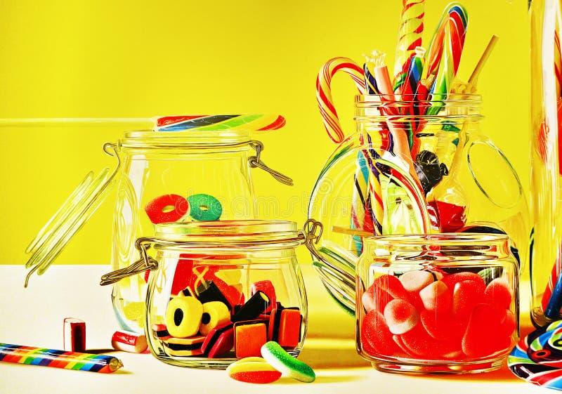 Покрашенные сладостные леденцы на палочке и candys стоковые фотографии rf