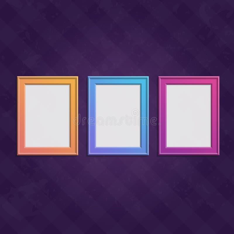 Покрашенные установленные рамки иллюстрация вектора