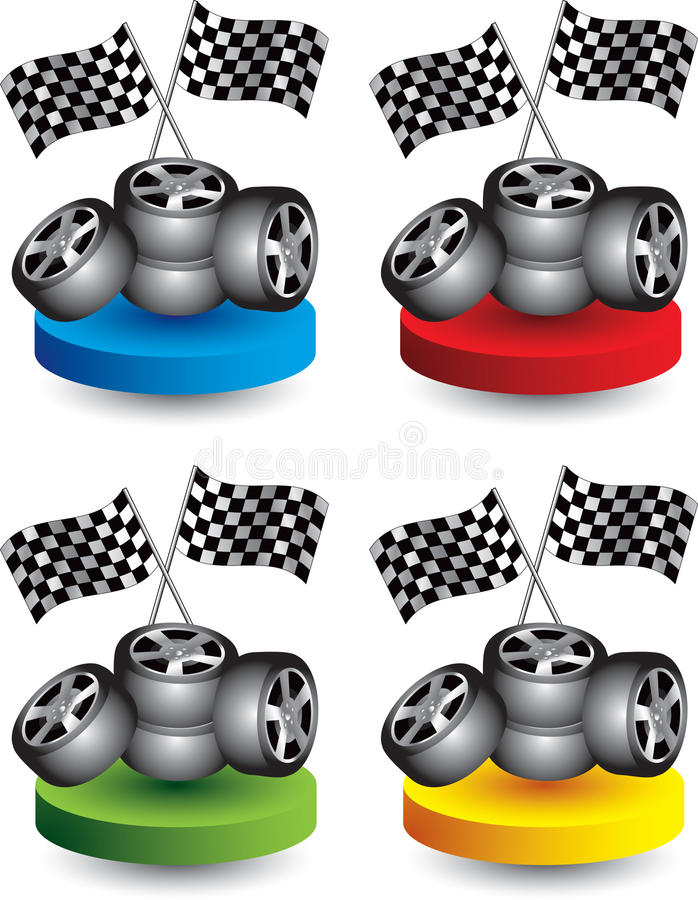 покрашенные флаги дисков участвуя в гонке автошины иллюстрация штока