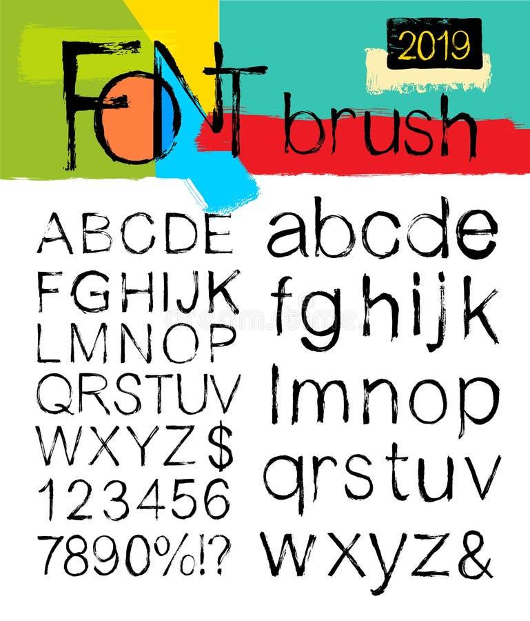 Покрашенные ходы щетки шрифта ABC Краска пятен алфавита и номеров, брызг и акварель Пакостные художнические элементы дизайна, bo бесплатная иллюстрация