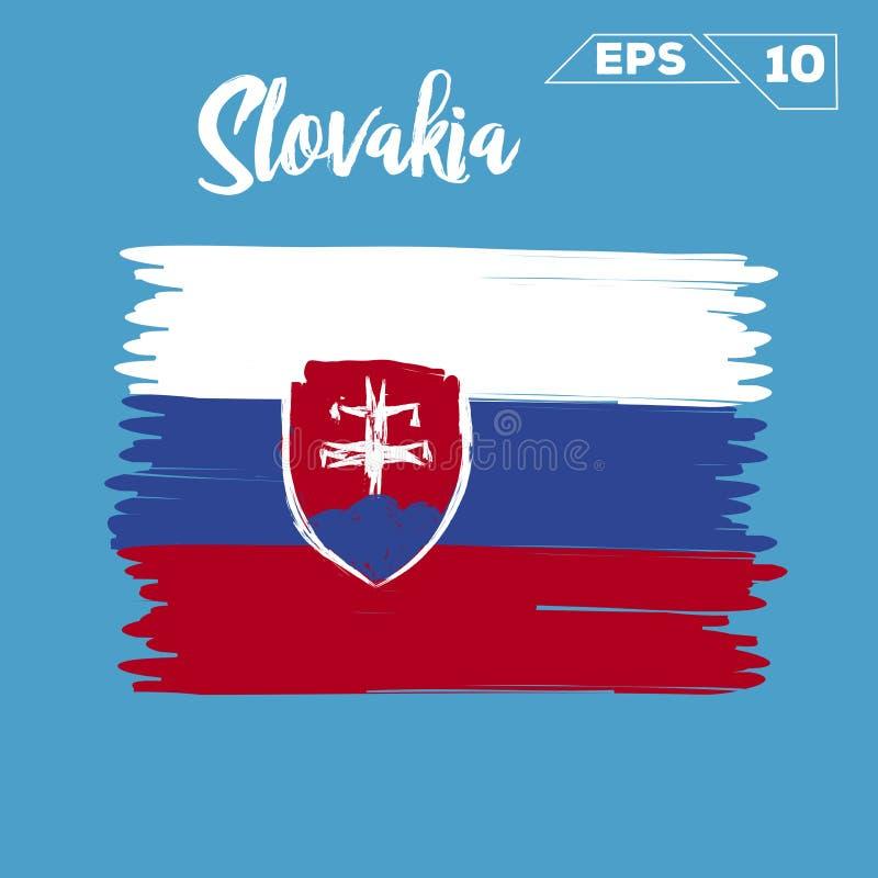 Покрашенные ходы щетки флага Словакии иллюстрация штока