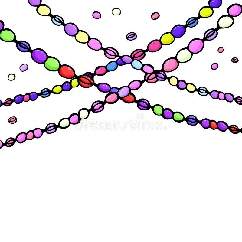 Покрашенные шарики марди Гра масленицы, иллюстрация вектора рассвета руки, белая предпосылка иллюстрация вектора