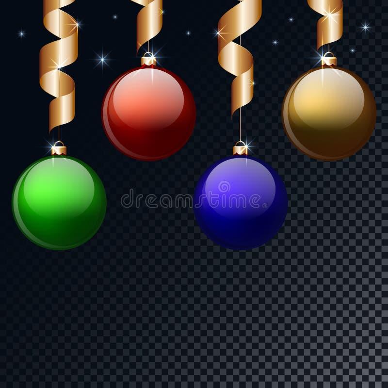 Покрашенные шарики рождества с смертной казнью через повешение ленты и изолированной предпосылкой накаляя звезды также вектор илл бесплатная иллюстрация