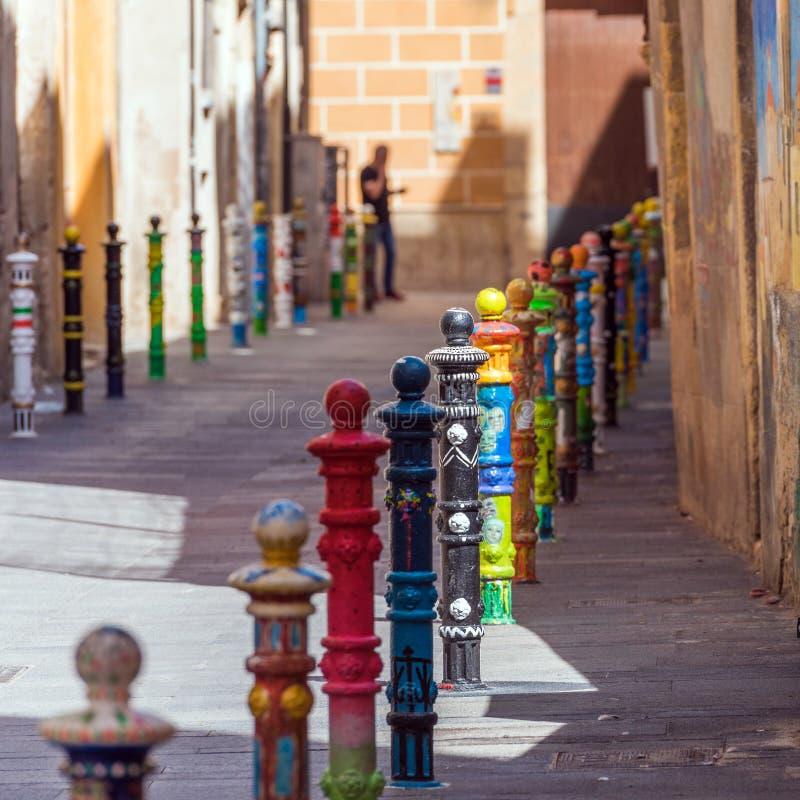 Покрашенные штендеры в Таррагоне, Catalunya, Испании Скопируйте космос для текста стоковое изображение rf