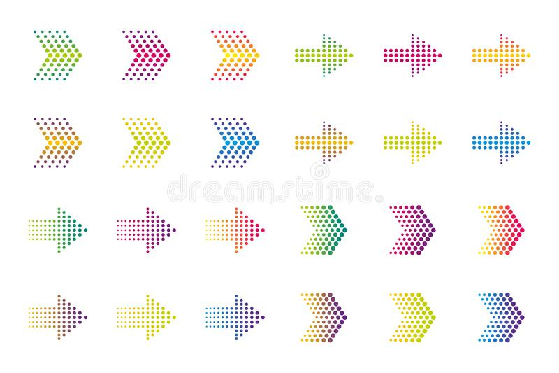 Покрашенные элементы стрелки Влияние полутонового изображения иллюстрация вектора