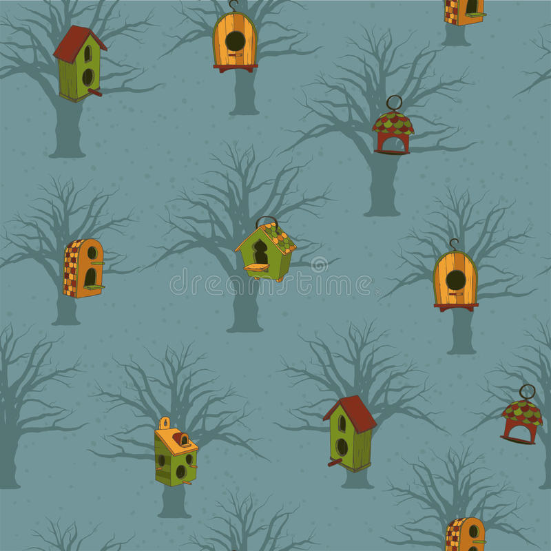 Покрашенные birdhouses с деревьями на голубой предпосылке бесплатная иллюстрация