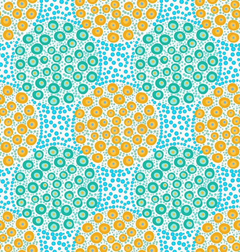 Покрашенный апельсин и зеленый цвет поставили точки круги на голубых точках иллюстрация штока