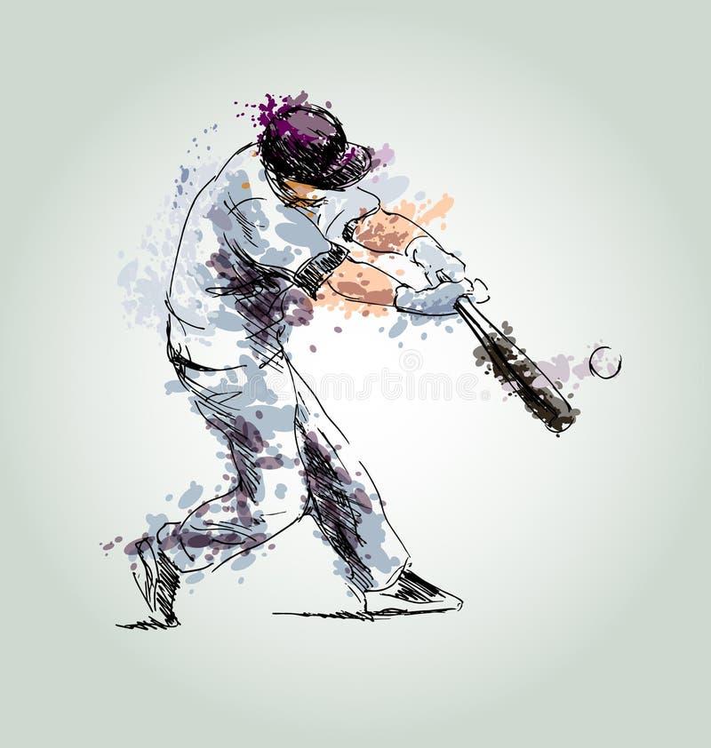 Покрашенный бейсбол чертежа руки бесплатная иллюстрация