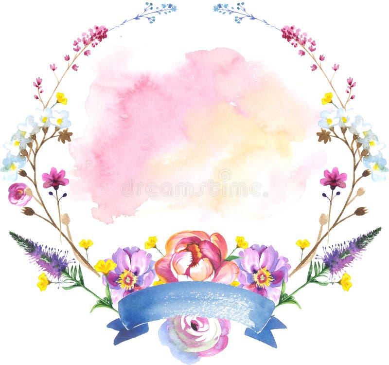 Покрашенный венок цветка wildflowers в стиле акварели с лентой иллюстрация вектора