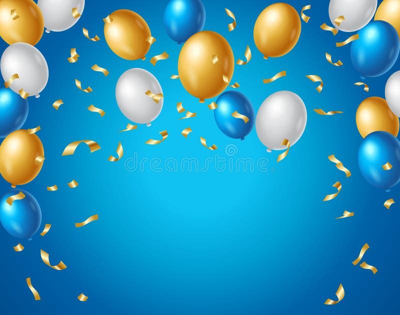 Покрашенный воздушные шары голубым, белым и золоту и золотой confetti на голубой предпосылке с космосом для вашего текста r бесплатная иллюстрация