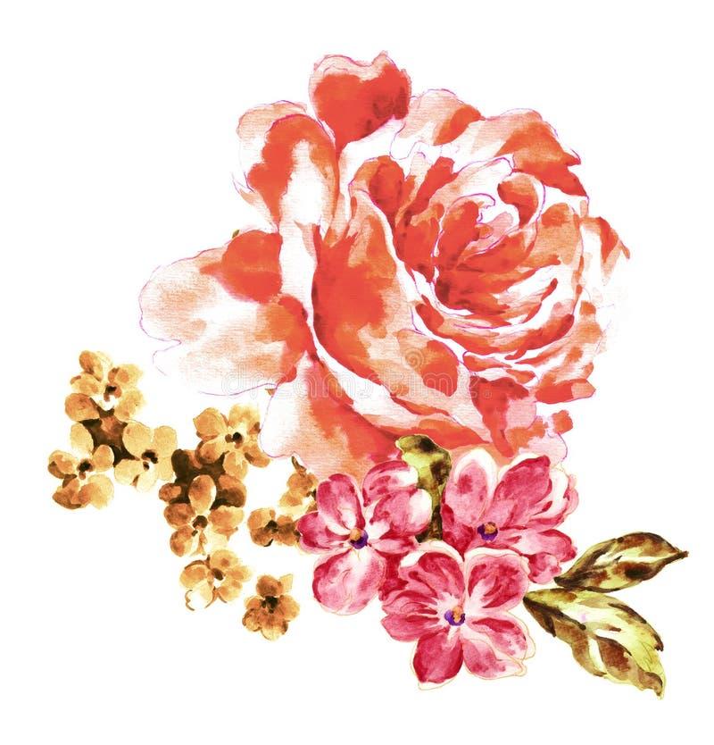 Покрашенный вручную материал цветка акварели, красивая выбитая картина, европейский затенять текстуры картины стоковое фото rf