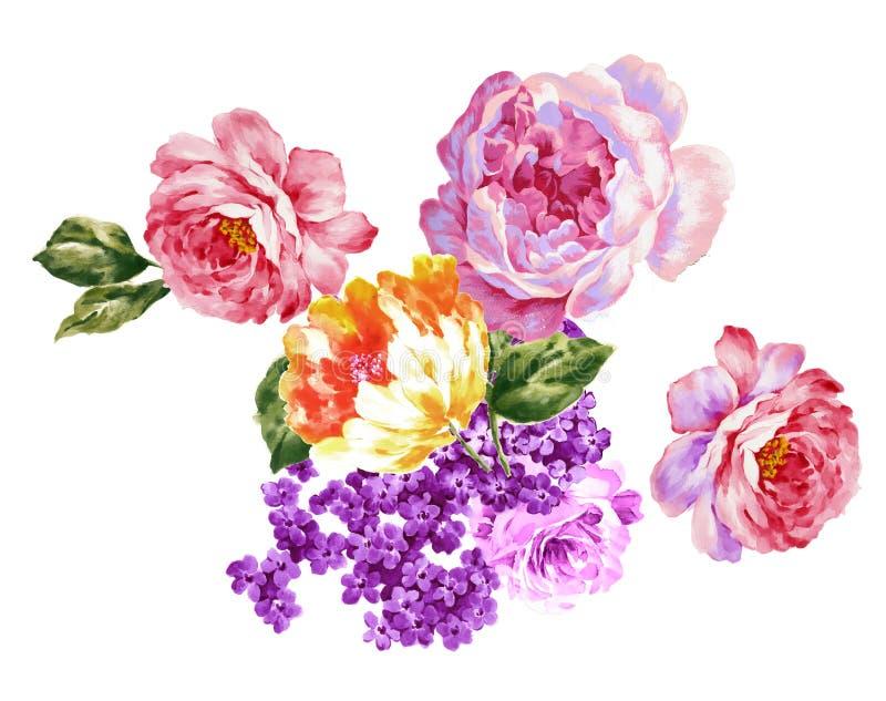 Покрашенный вручную материал цветка акварели, красивая выбитая картина, европейский затенять текстуры картины стоковые изображения rf