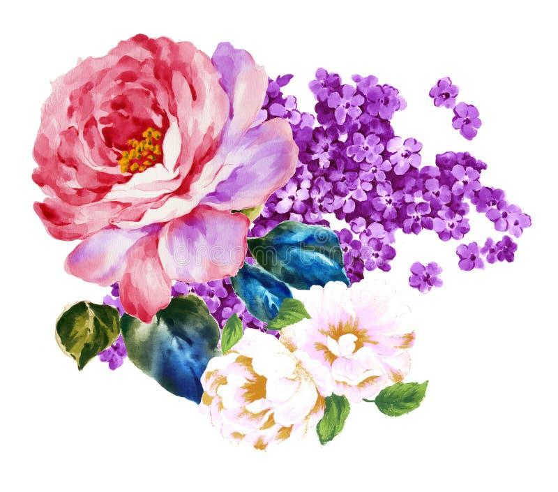 Покрашенный вручную материал цветка акварели, красивая выбитая картина, европейский затенять текстуры картины стоковая фотография rf