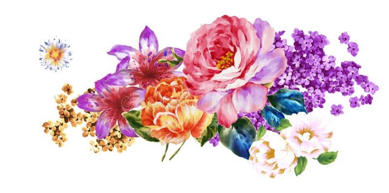 Покрашенный вручную материал цветка акварели, красивая выбитая картина, европейский затенять текстуры картины стоковые фотографии rf