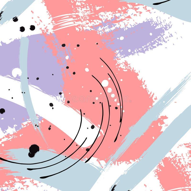 Покрашенный голубой grunge stripes картина Фиолетовые ярлыки, предпосылка, текстура краски Щетка штрихует текстуру вектора handma бесплатная иллюстрация
