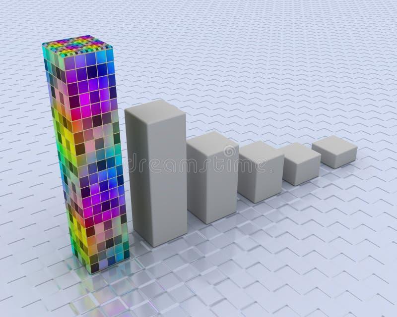 покрашенный график 3d иллюстрация вектора