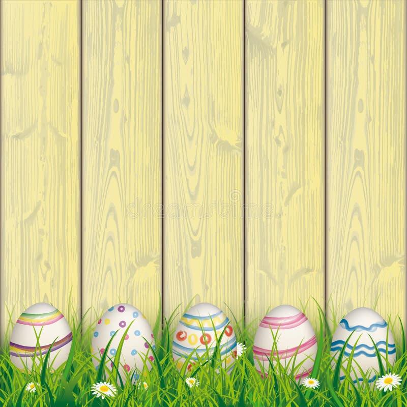 Покрашенный желтый цвет травы пасхальных яя природы деревянный иллюстрация штока