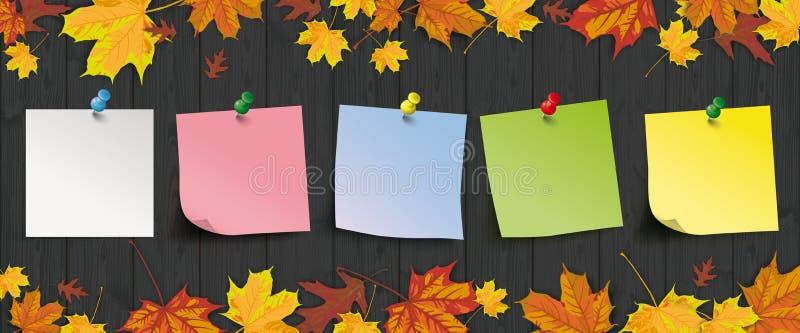 Покрашенный заголовок листвы осени ручек темный деревянный бесплатная иллюстрация