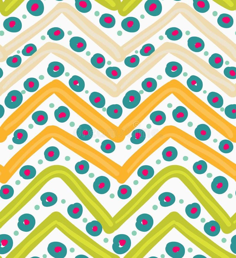 Покрашенный зигзаг апельсина и зеленого цвета с голубыми точками иллюстрация штока