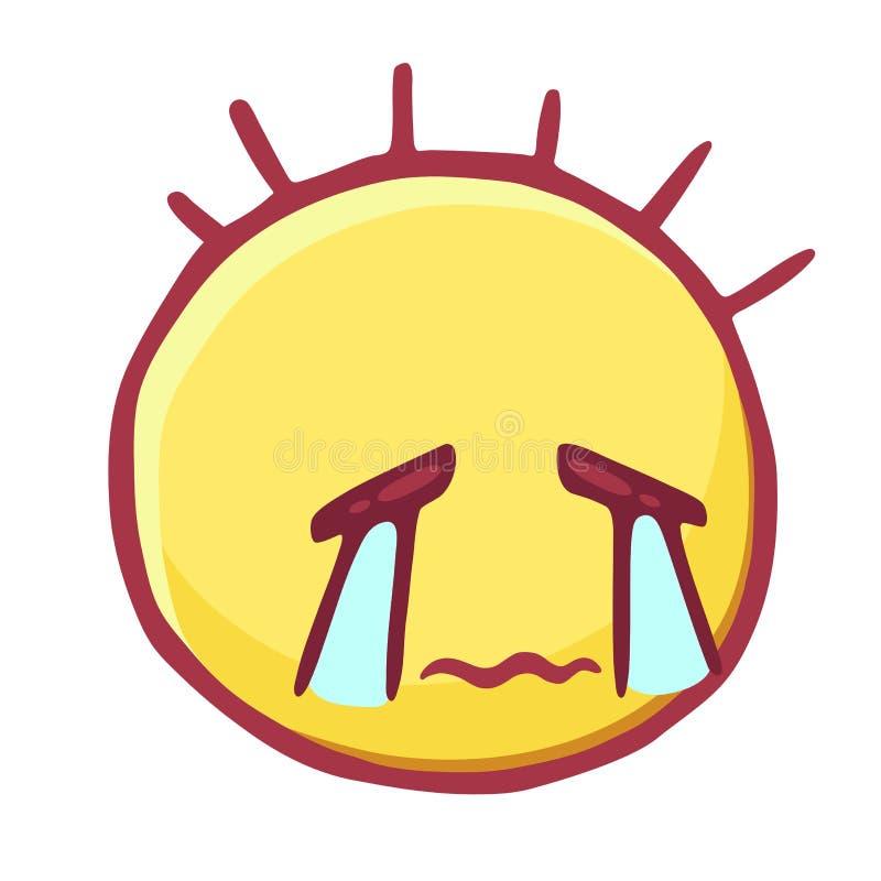 Покрашенный значок смайликов, smiley с волнистыми губами и потоки разрывов, плача унылого Emoji сторона стоковое фото