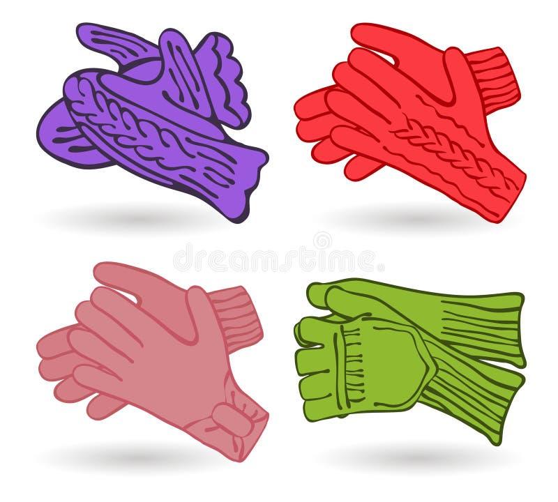 Покрашенный комплект иконы mittens. Зима бесплатная иллюстрация
