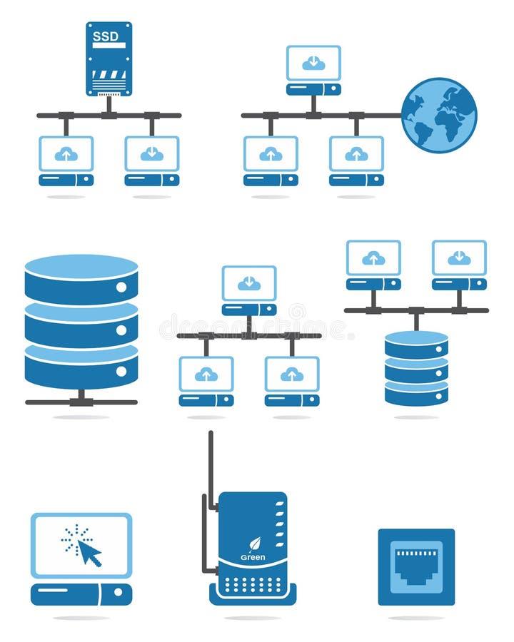 Комплект иконы компьютерной сети иллюстрация вектора
