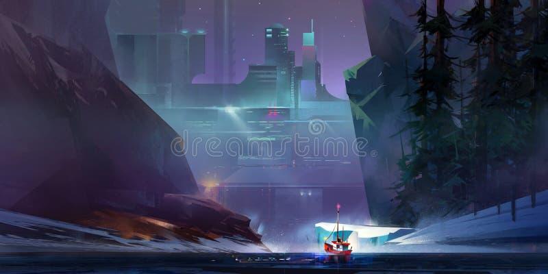 Покрашенный корабль ландшафта в городе киберпанка будущего бесплатная иллюстрация