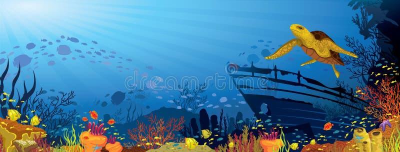 Покрашенный коралловый риф с желтой черепахой иллюстрация штока