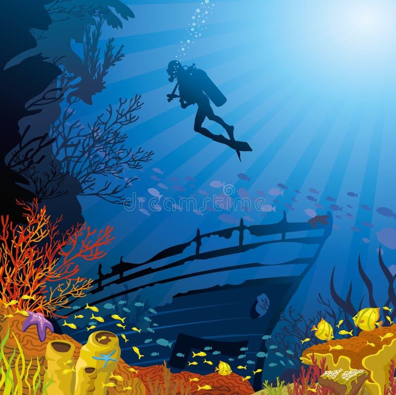 Покрашенный коралловый риф с рыбами и водолазом иллюстрация вектора