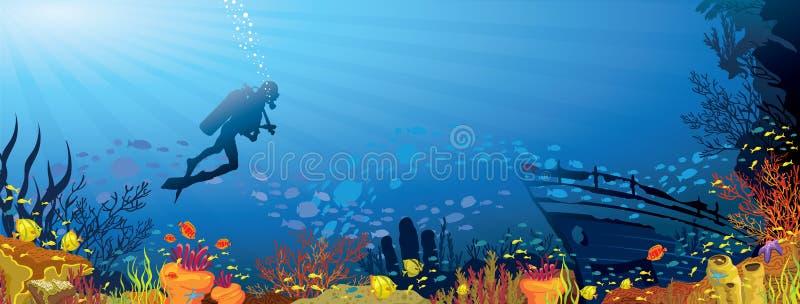 Покрашенный коралловый риф с рыбами и водолазом бесплатная иллюстрация
