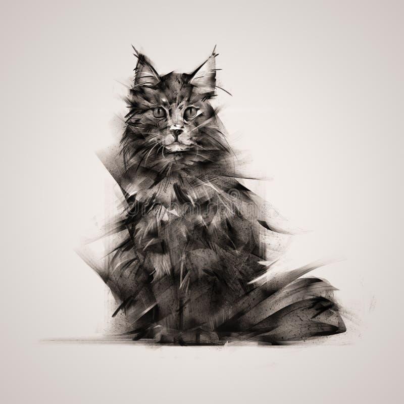 Покрашенный кот сидя на светлой предпосылке стоковые изображения rf