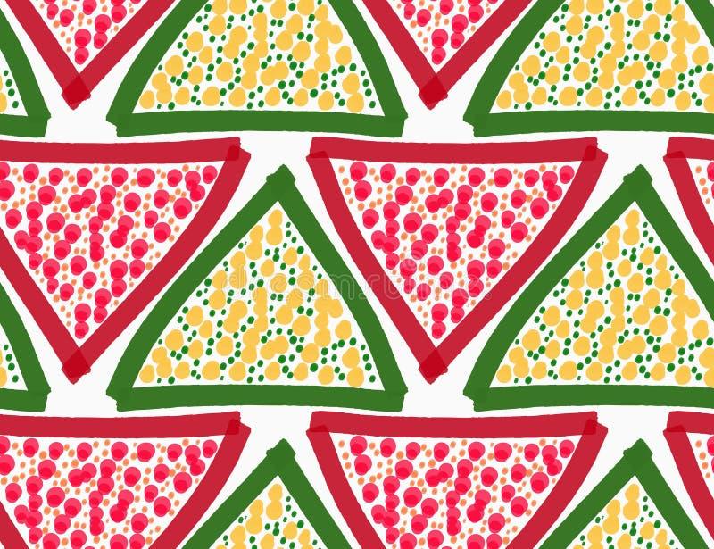 Покрашенный красные и зеленые треугольники с точками иллюстрация штока