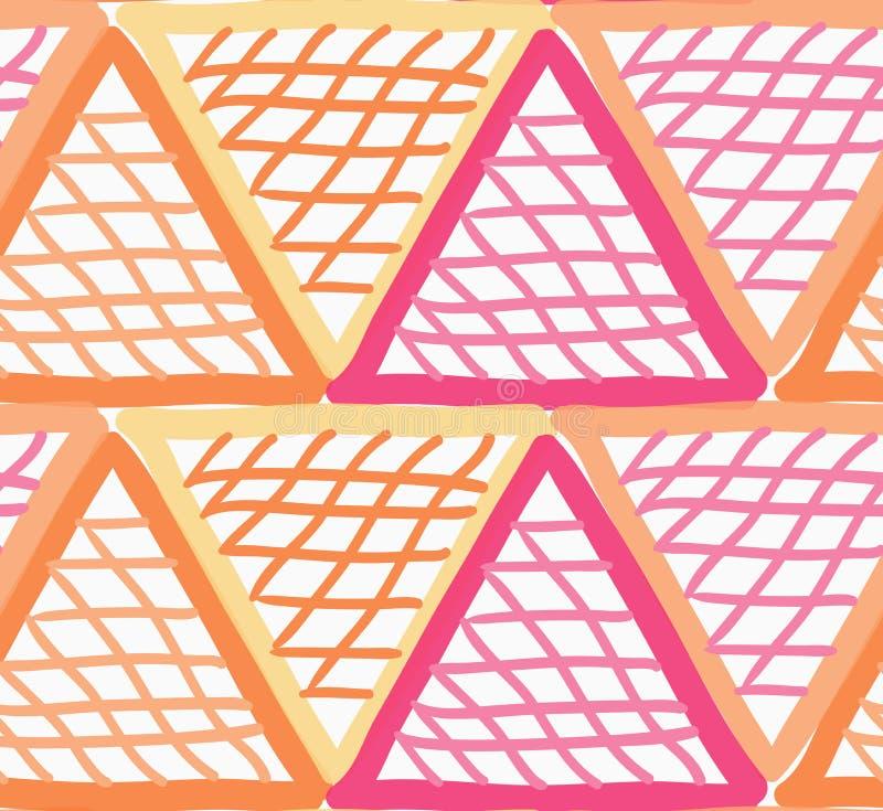 Покрашенный красные и оранжевые треугольники отметки checkered иллюстрация вектора