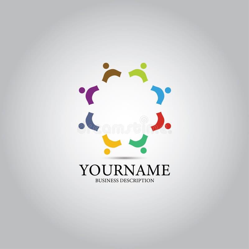 Покрашенный людьми логотип шаблона иллюстрация вектора