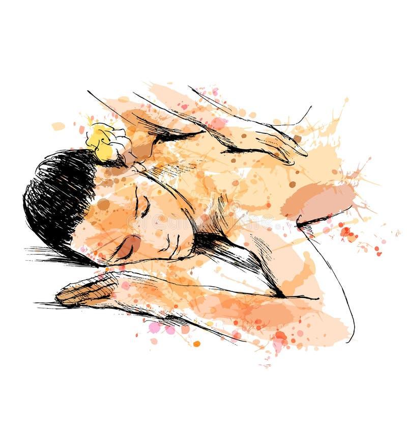 Покрашенный массаж эскиза руки иллюстрация вектора