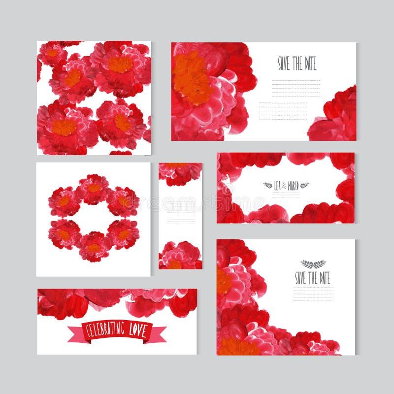Покрашенный маслом флористический комплект карточек бесплатная иллюстрация