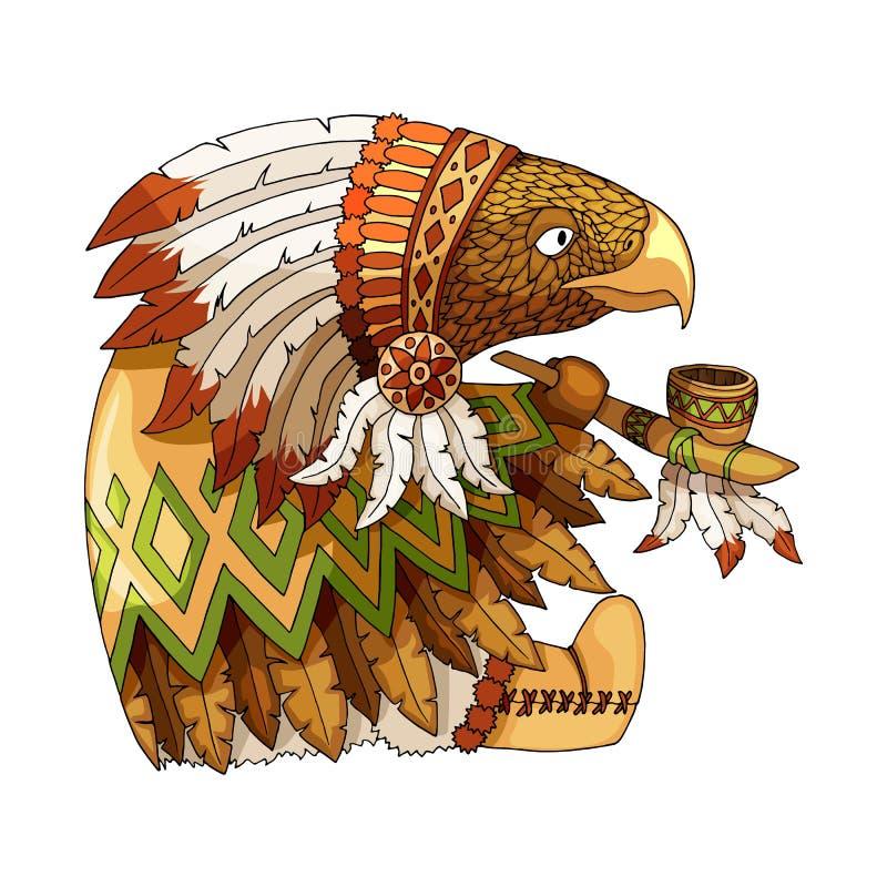 Покрашенный мультфильмом орел характера американский в традиционном индийском национальном костюме бесплатная иллюстрация